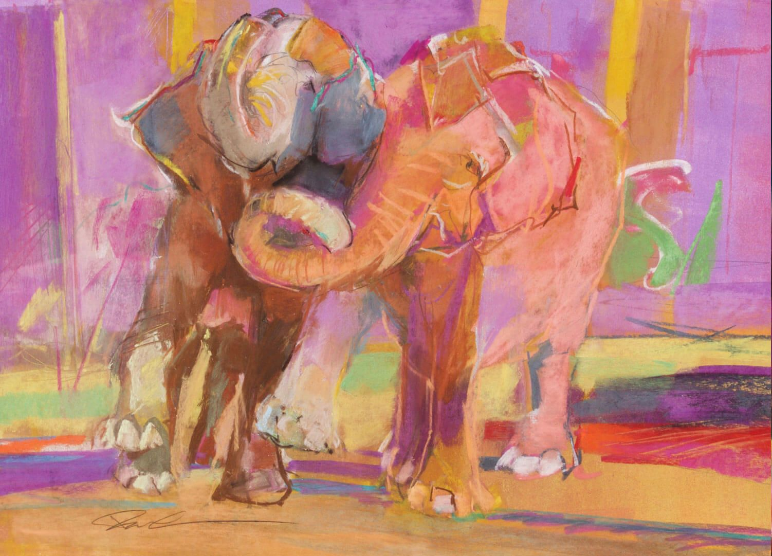 Elephant Pastel Painting by Dawn Emerson